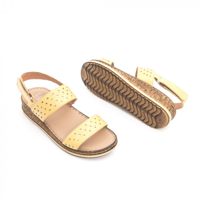 Sandale dama casual , piele naturala, Leofex 212 galben 2