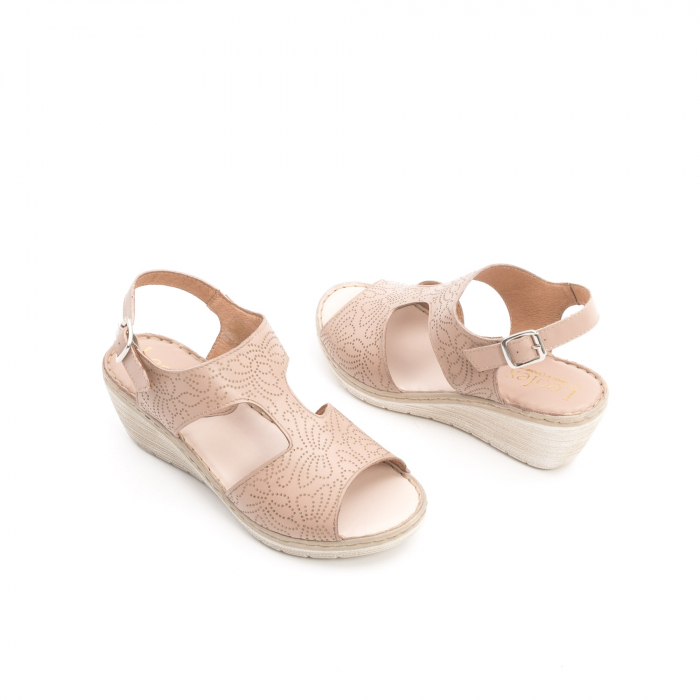 Sandale dama casual din piele naturala,Leofex  218 taupe 3