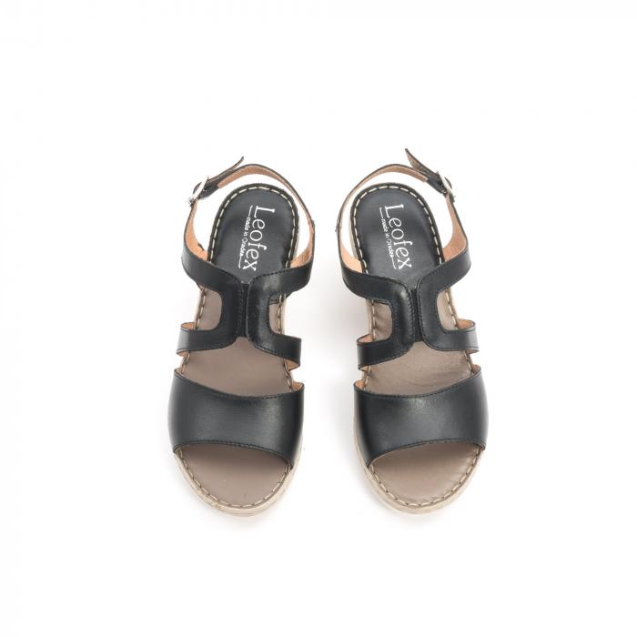 Sandale dama  casual  din piele naturala Leofex 232 negru 5