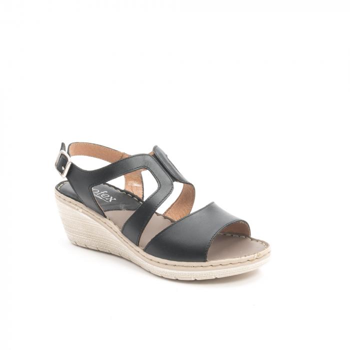 Sandale dama  casual  din piele naturala Leofex 232 negru 0