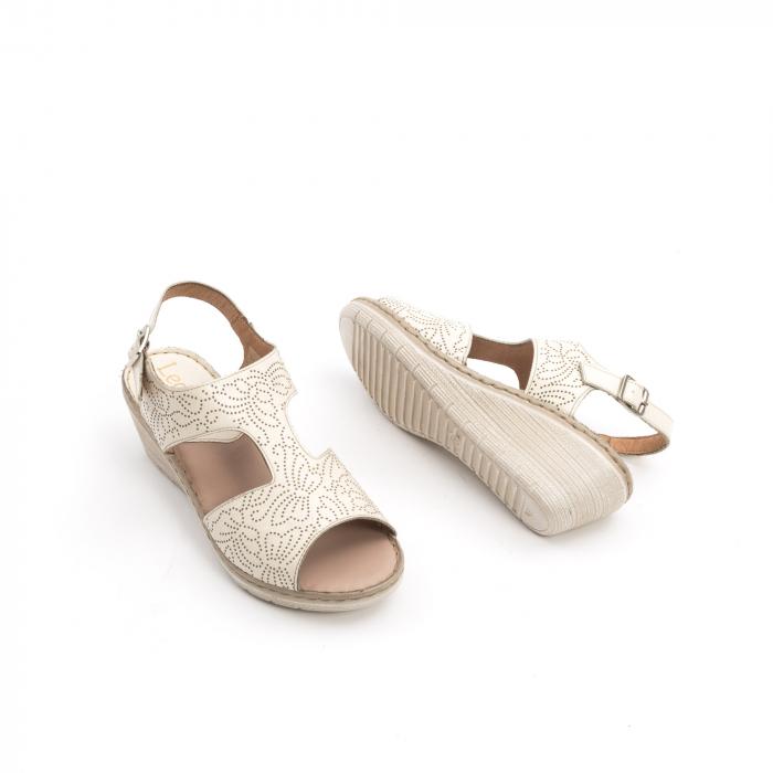 Sandale dama casual din piele naturala,Leofex 218 bej 2