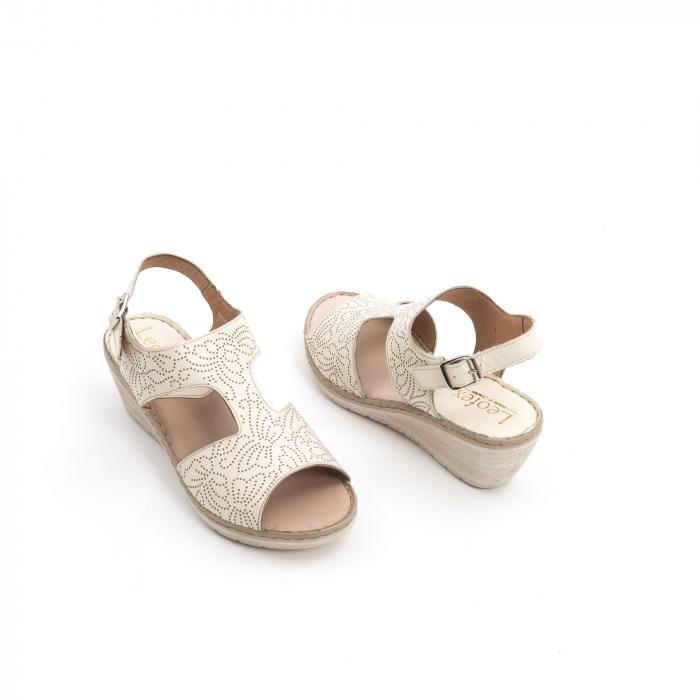 Sandale dama casual din piele naturala,Leofex 218 bej 3