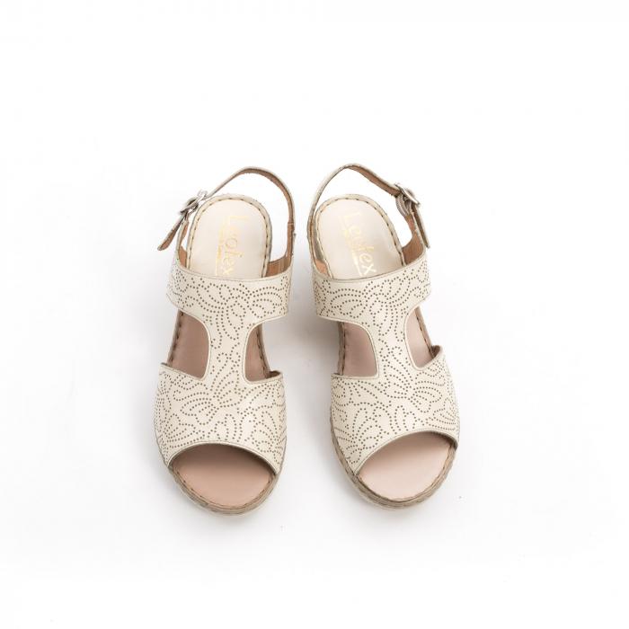 Sandale dama casual din piele naturala,Leofex 218 bej 5