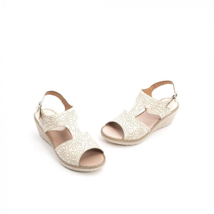 Sandale dama casual din piele naturala,Leofex 218 bej 1