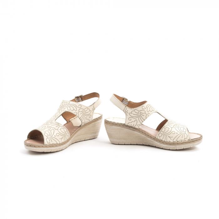 Sandale dama casual din piele naturala,Leofex 218 bej 4