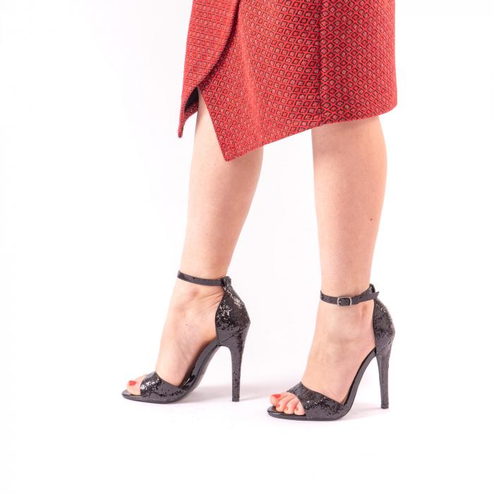 Sandale dama elegante Angel Blue 646, piele eco, negru 1