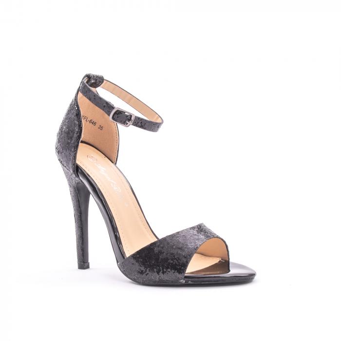 Sandale dama elegante Angel Blue 646, piele eco, negru 0