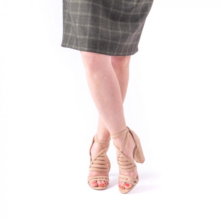 Sandale dama elegante piele ecologica Angel Blue 663, nude 3