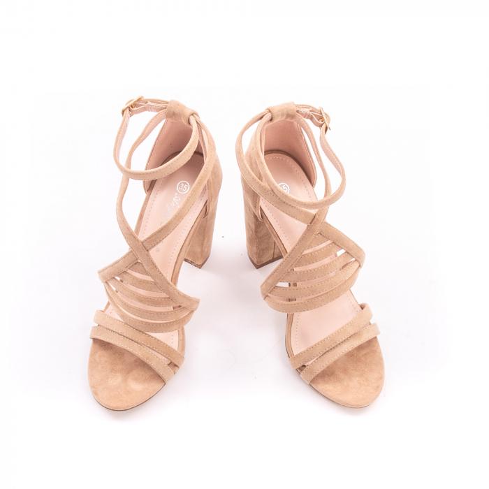 Sandale dama elegante piele ecologica Angel Blue 663, nude 2