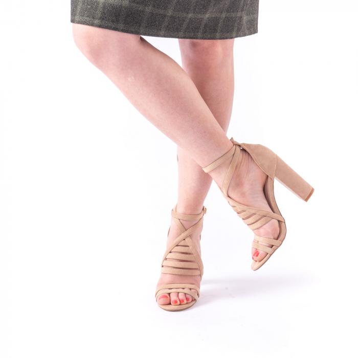 Sandale dama elegante piele ecologica Angel Blue 663, nude 1