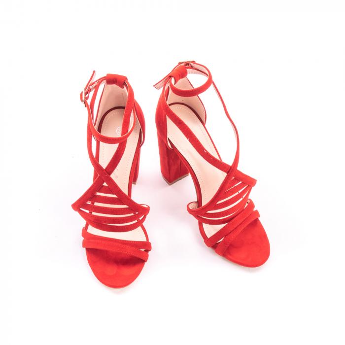Sandale dama elegante piele ecologica Angel Blue 663, rosu 2