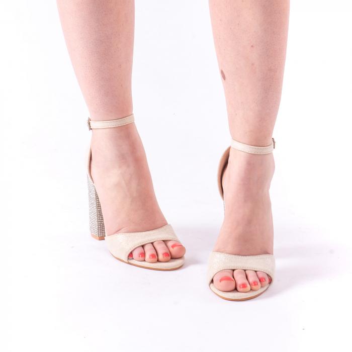 Sandale dama elegante Angel Blue 650, piele eco, nude 3