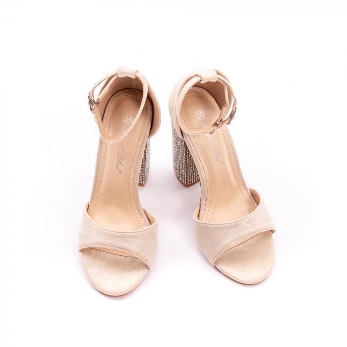 Sandale dama elegante Angel Blue 650, piele eco, nude 1