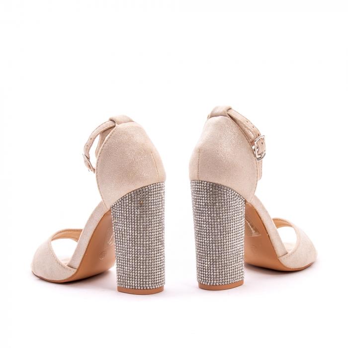 Sandale dama elegante Angel Blue 650, piele eco, nude 2