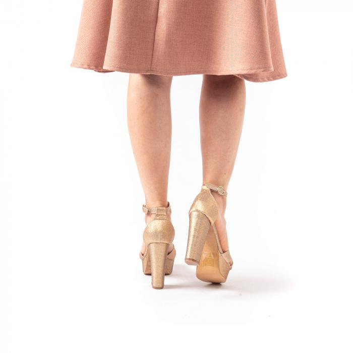 Sandale elegante dama cu platforma AB734 auriu [5]