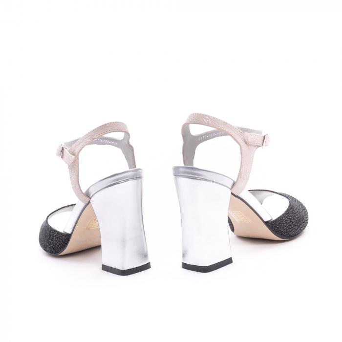 Sandale dama elegante piele naturala Epica oe6612 negru-argintiu 6