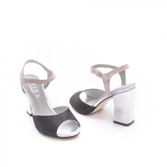 Sandale dama elegante piele naturala Epica oe6612 negru-argintiu 3