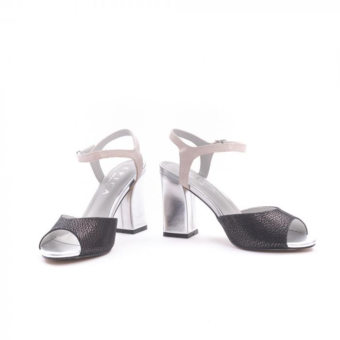 Sandale dama elegante piele naturala Epica oe6612 negru-argintiu 4
