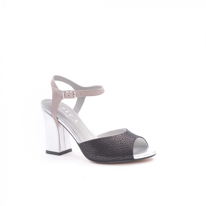 Sandale dama elegante piele naturala Epica oe6612 negru-argintiu 0