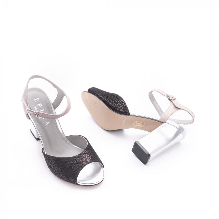 Sandale dama elegante piele naturala Epica oe6612 negru-argintiu 2