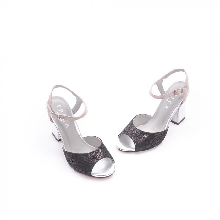Sandale dama elegante piele naturala Epica oe6612 negru-argintiu 1