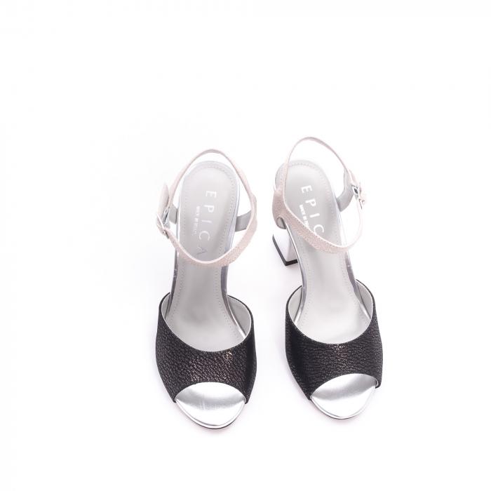 Sandale dama elegante piele naturala Epica oe6612 negru-argintiu 5