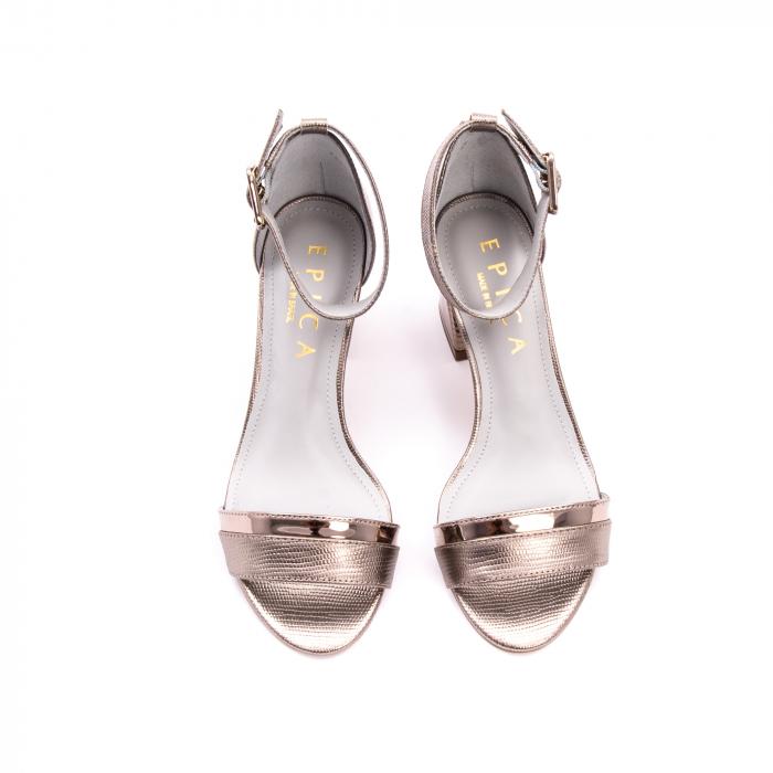 Sandale dama elegante piele naturala Epica oe8650 17-E, bronz 2