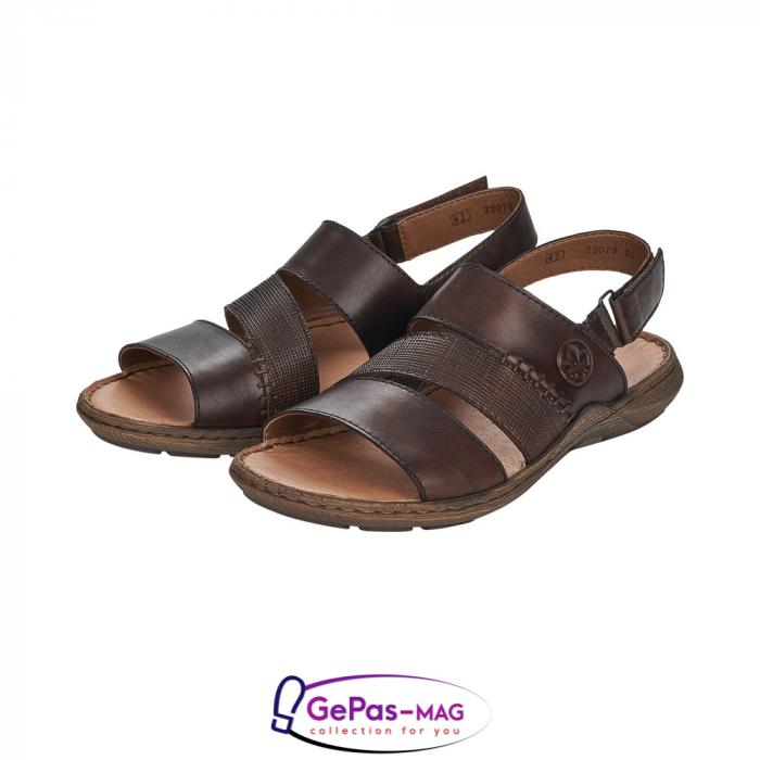 Sandale barbati, piele naturala, maro, 22079-25 6