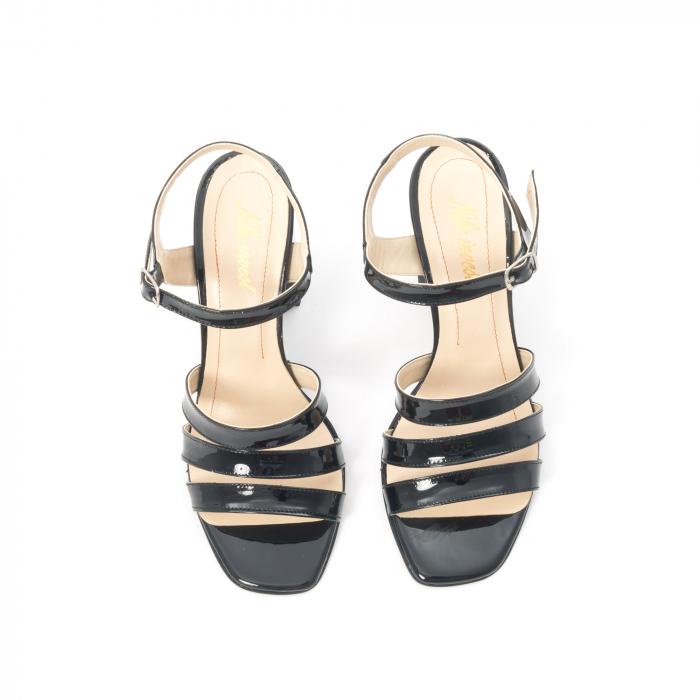 Sandale dama elegante, piele naturala, Nike Invest 1080, negru lac 5