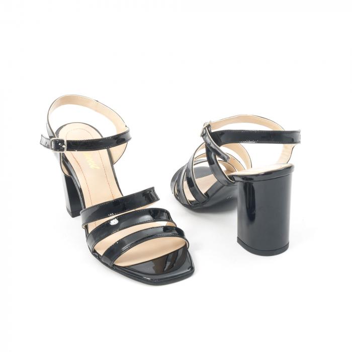 Sandale dama elegante, piele naturala, Nike Invest 1080, negru lac 2
