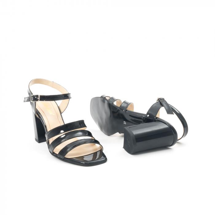 Sandale dama elegante, piele naturala, Nike Invest 1080, negru lac 3
