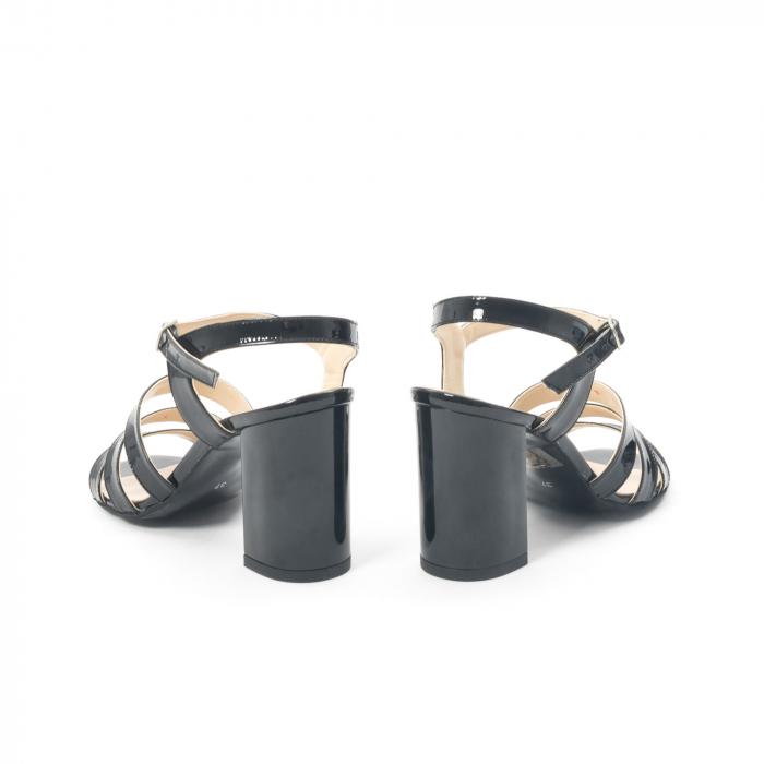 Sandale dama elegante, piele naturala, Nike Invest 1080, negru lac 6