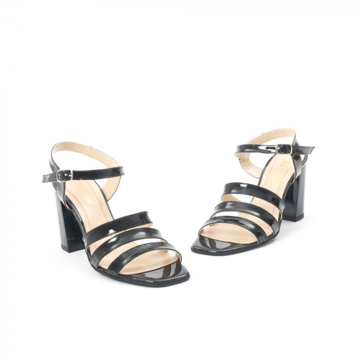 Sandale dama elegante, piele naturala, Nike Invest 1080, negru lac 1