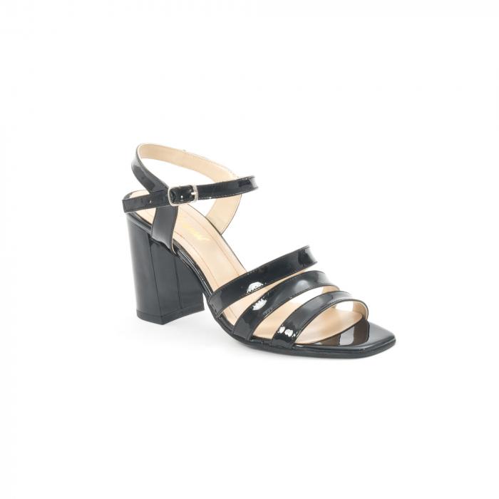 Sandale dama elegante, piele naturala, Nike Invest 1080, negru lac 0