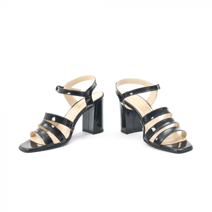 Sandale dama elegante, piele naturala, Nike Invest 1080, negru lac 4