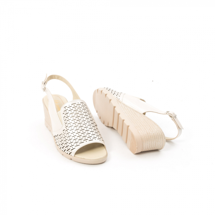 Sandale dama elegante piele naturala, Nike Invest 237B8, bej 3