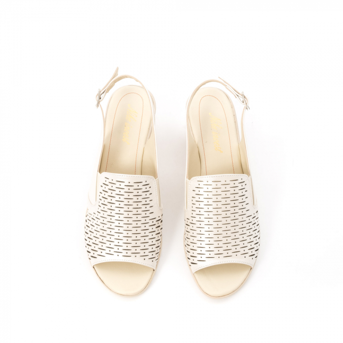 Sandale dama elegante piele naturala, Nike Invest 237B8, bej 5