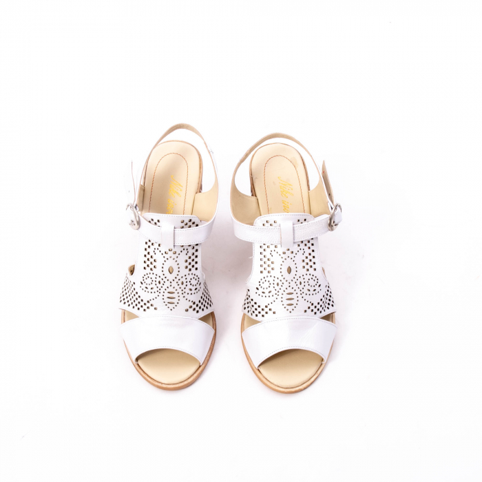 Sandale dama elegante, piele naturala, Nike Invest nk238, alb 5