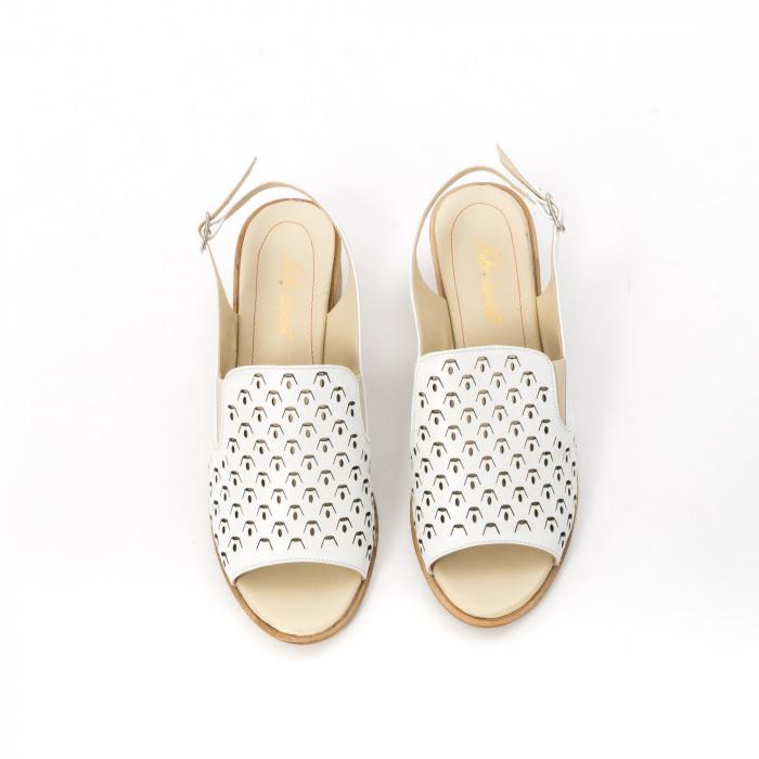 Sandale dama elegante piele naturala Nike Invest 253A, alb 5