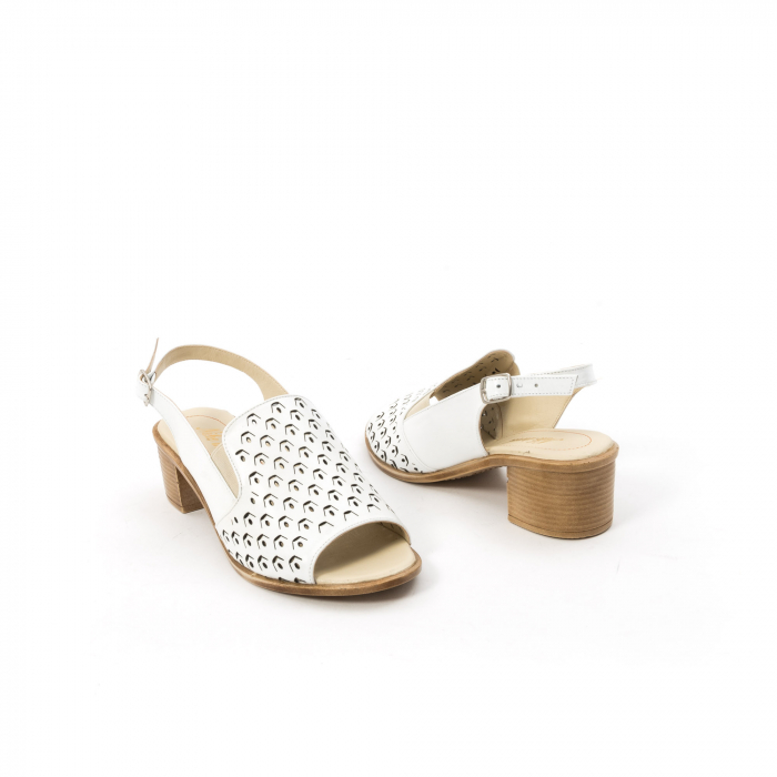 Sandale dama elegante piele naturala Nike Invest 253A, alb 2