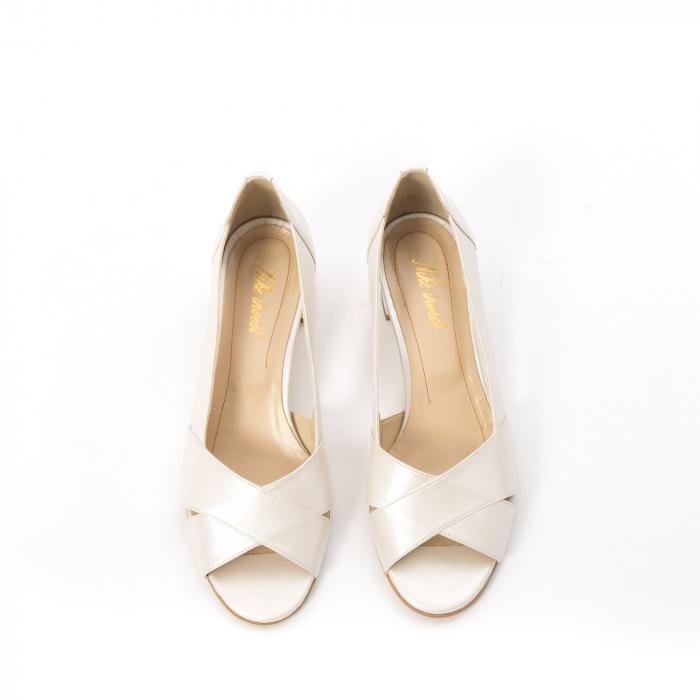 Decupati eleganti de   dama din piele naturala ,culoare alb sidef ,Nike Invest 254 B8 5