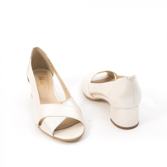 Decupati eleganti de   dama din piele naturala ,culoare alb sidef ,Nike Invest 254 B8 2