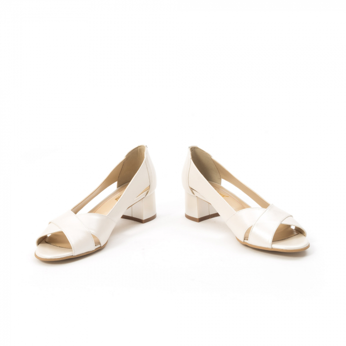 Decupati eleganti de   dama din piele naturala ,culoare alb sidef ,Nike Invest 254 B8 4