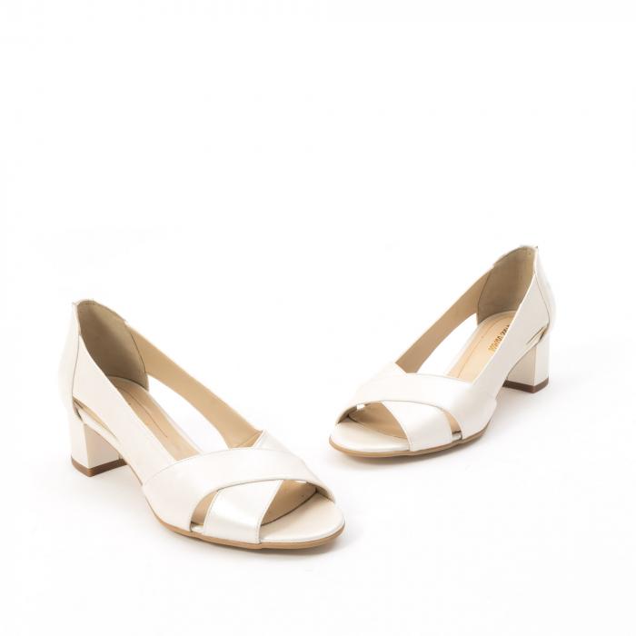 Decupati eleganti de   dama din piele naturala ,culoare alb sidef ,Nike Invest 254 B8 1
