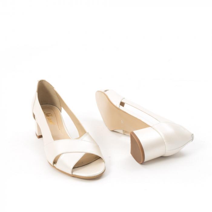 Decupati eleganti de   dama din piele naturala ,culoare alb sidef ,Nike Invest 254 B8 3