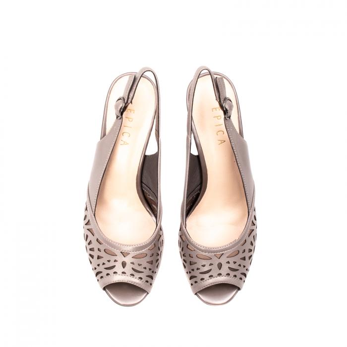 Sandale dama elegante, piele naturala, EP 4F811 SIL 5