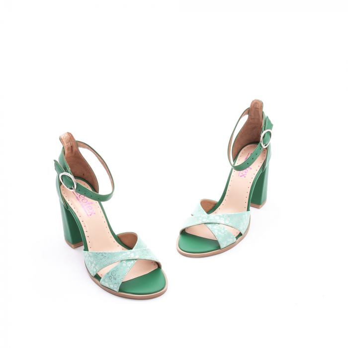 Sandale dama elegante piele naturala, Leofex 148, verde 1