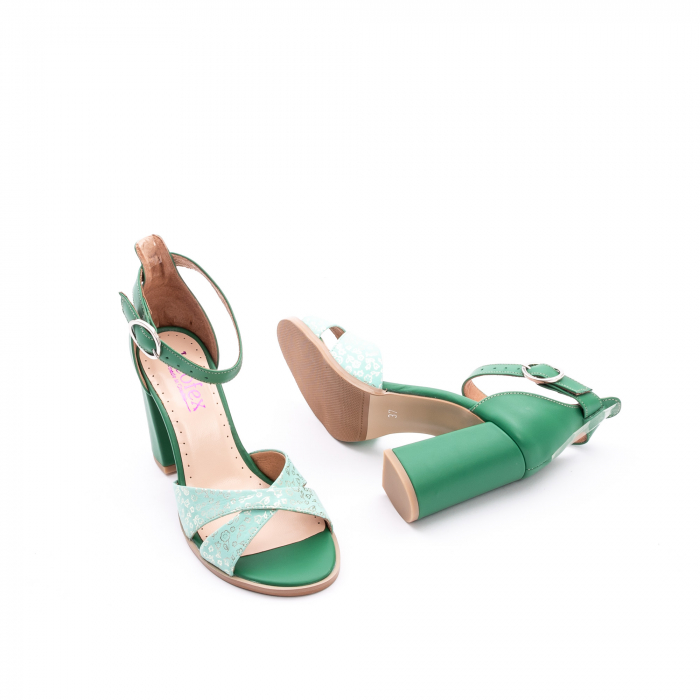 Sandale dama elegante piele naturala, Leofex 148, verde 3