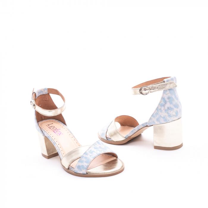 Sandale dama LFX 228 blue cu auriu 2