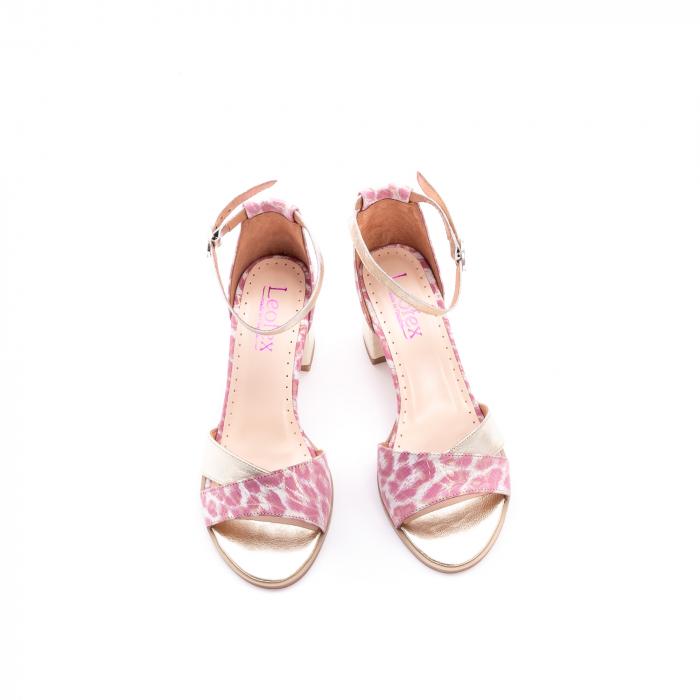 Sandale dama piele naturala Leofex 228, roz cu auriu 5
